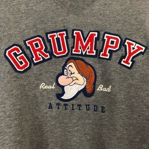 Disneyland Grumpy Bad Attitude Gray Sweatshirt L